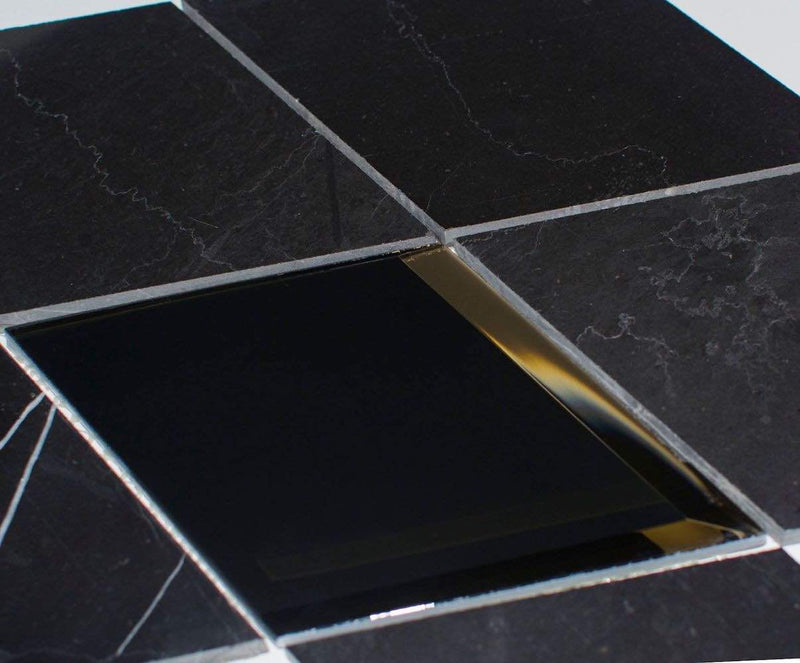 Waterjet Diamond Black Mosaic Tile for bathroom and shower