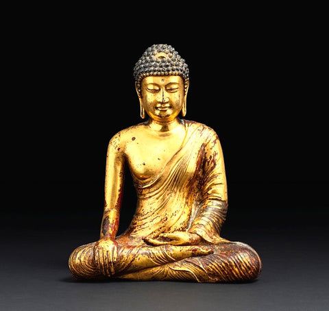 Exceptional statue of Buddha Maravijaya in gilded copper alloy, Kingdom of Dali (937-1253), Province of Yunnan, 12th century.  -Sotheby's