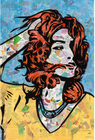 Amy Smith, In the Wind, 2019 Mixed media recycled magazine, stencil, acrylic, spray paint on canvas 30 × 20 × 2 in 76.2 × 50.8 × 5.1 cm