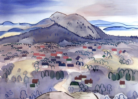 Colin Graham Edge of town gouache on paper  Works on Paper  21 x 28.75 in