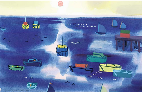 Colin Graham, Untitled - Sailing at Sunset , 1991 acrylic on paper 13.5 x 21 x 1 in