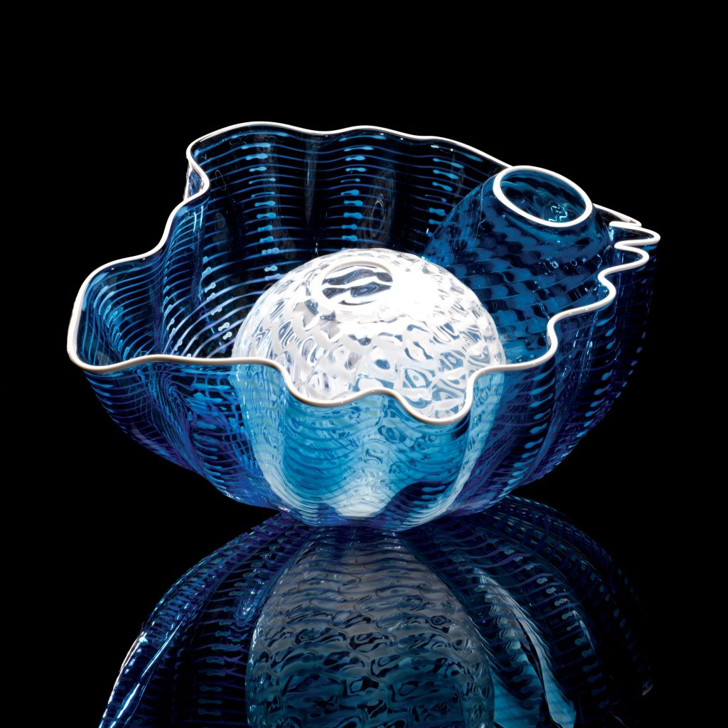 Dale Chihuly, Blue Crystal Seaform Special Edition, 2009 Glass 5½'' x 9½'' x 7''
