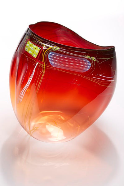 Dale Chihuly, Garnet Flame Basket with Drawing Shard, 2018 15H x 15W x 13D''