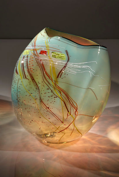 Dale Chihuly, Golden Celadon Basket with Drawing Shard, 2017 18H x 17W x 15D'' Blown Glass