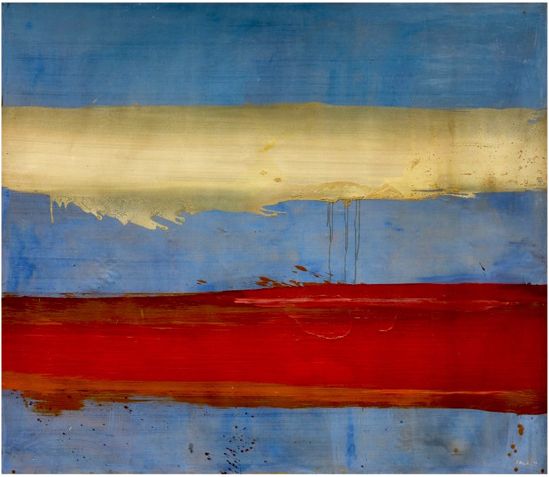 Edward Clark  1926 - 2019  SCARLETT BLUE,  signed and dated 62; titled and dated 1962 on the reverse  oil on canvas  84 by 96 in. 213.4 by 243.9 cm.