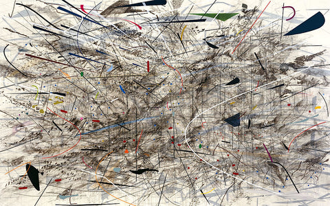 Julie Mehretu, Black City, 2007. Ink and acrylic on canvas, 120 × 192 in. (304.8 × 487.7 cm)