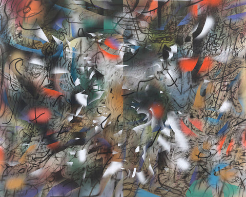 Julie Mehretu, Haka (and Riot), 2019. Ink and acrylic on canvas, 144 × 180 in. (365.76 × 457.2 cm)