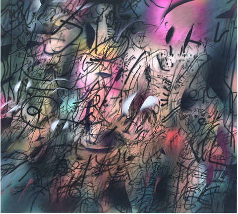 Julie Mehretu, Of other Planes of There (S.R.) 2018–2019, 108 × 120 in. (274.32 × 304.8 cm).