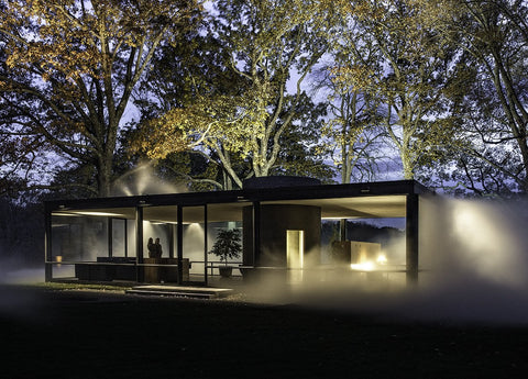 Richard Barnes, Angled View of Glass House at Night archival inkjet print on archival substrate, framed in black with glass 23 X 32 in.