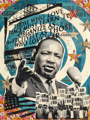 "ROBERT MARS ""I AM A MAN"" - MARTIN LUTHER KING JR. - ORIGINAL MIXED MEDIA AND RESIN ON WOOD, 36 x 48 inches"