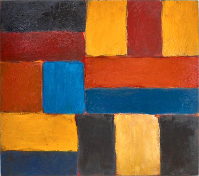 SEAN SCULLY  b. 1945  WALL OF LIGHT HEAT 2    oil on linen  signed, titled and dated 9.12 on the reverse  190.5 by 215.9 cm. 75¼ by 85 in.