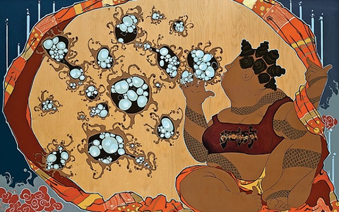 Iona Rozeal Brown, kaatchi, the incubator, 2010, prints and multiples, pigment print, 24 x 39.5 in., 61 x 100.3 cm.