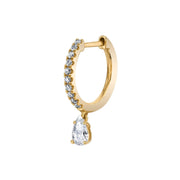 SINGLE DIAMOND HUGGIE WITH PEAR DIAMOND DROP
