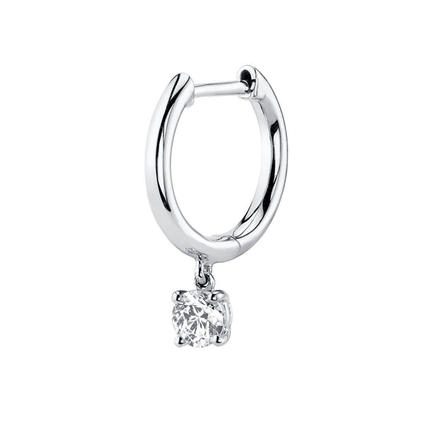 SINGLE HUGGIE WITH ROUND DIAMOND DROP