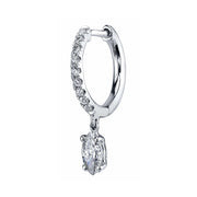 Single diamond huggie with marquis diamond drop