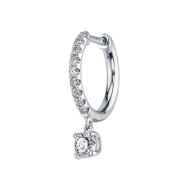Single diamond huggie with round diamond drop