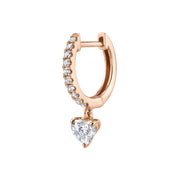 SINGLE DIAMOND HUGGIE WITH DIAMOND HEART DROP