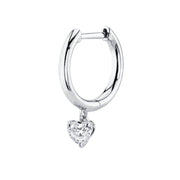 Single plain huggie with heart diamond drop