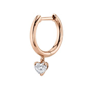 SINGLE HUGGIE WITH HEART DIAMOND DROP