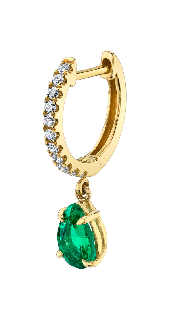 PAVE HUGGIE WITH PEAR-SHAPED EMERALD DROP