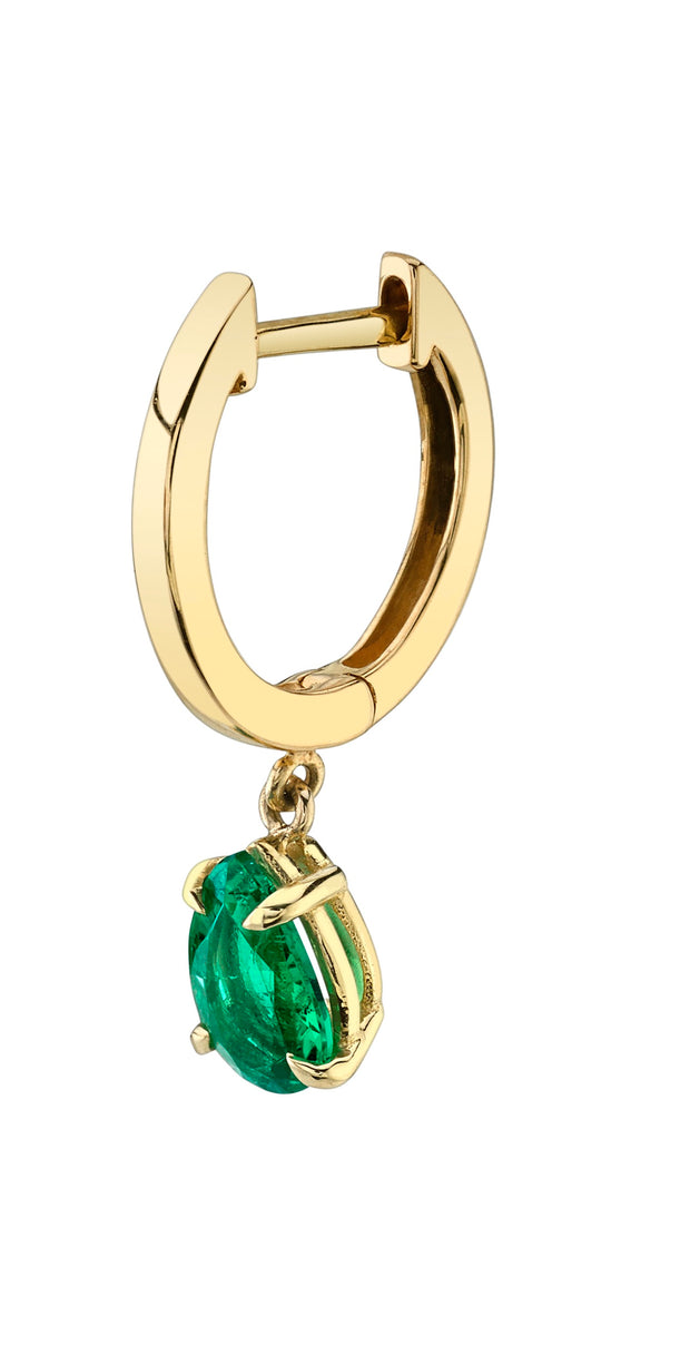 SINGLE HUGGIE WITH PEAR-SHAPED EMERALD DROP
