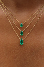 PEAR SHAPED EMERALD PENDANT .74