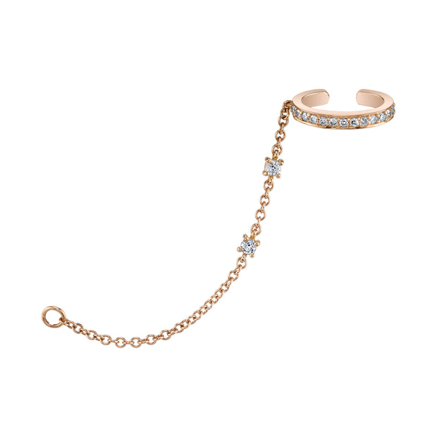 Rose gold single-row diamond ear cuff with diamond chain