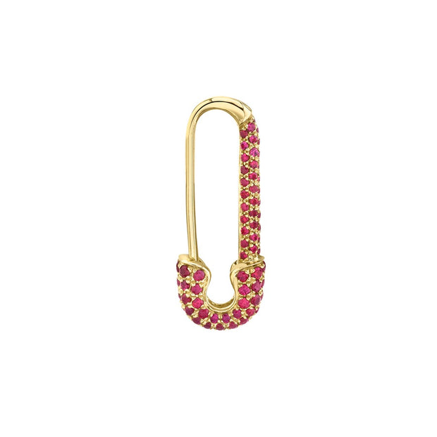 MINI RUBY SAFETY PIN EARRING