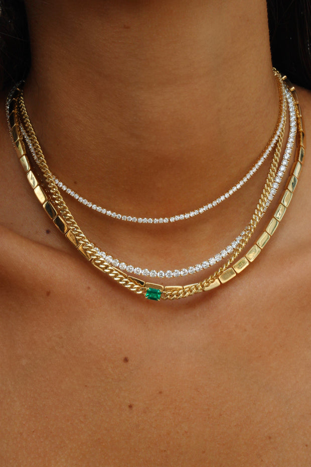 CUBAN LINK NECKLACE WITH EMERALD CENTER
