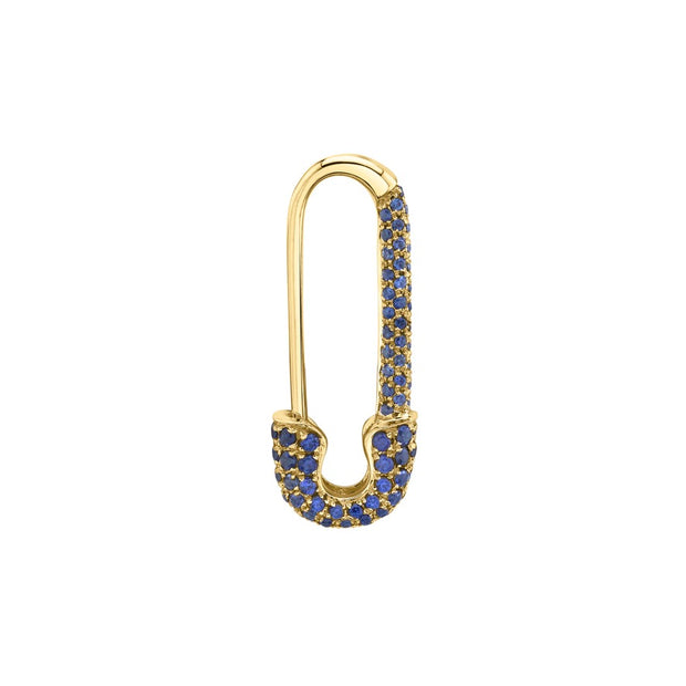MINI BLUE SAPPHIRE SAFETY PIN EARRING