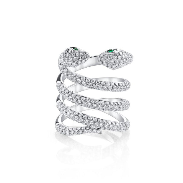DOUBLE-HEAD DIAMOND COIL SNAKE RING