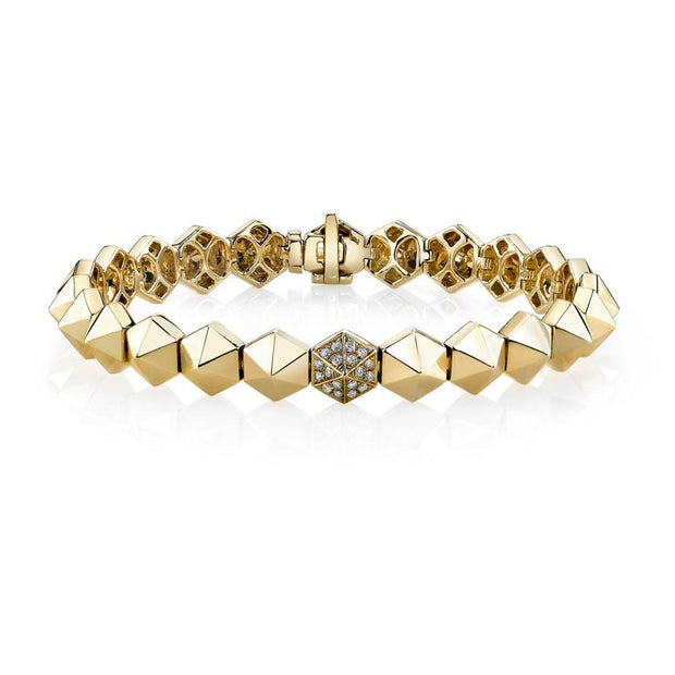 SIX-SIDED SPIKE BRACELET WITH ONE DIAMOND SPIKE