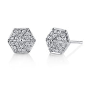 DIAMOND SIX-SIDED SPIKE STUD EARRINGS