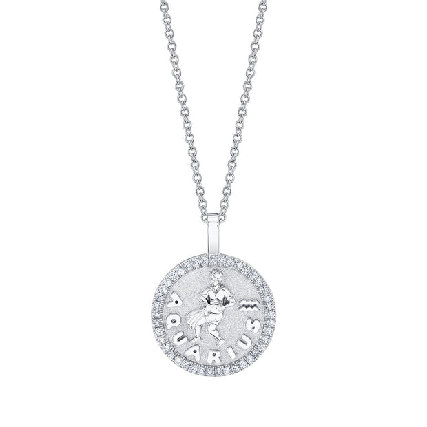 Aquarius zodiac coin pendant with diamond frame