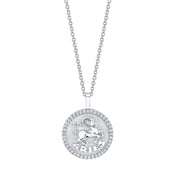 ARIES ZODIAC COIN PENDANT WITH DIAMOND FRAME