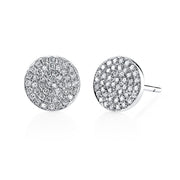DIAMOND FLAT DISC STUD EARRINGS