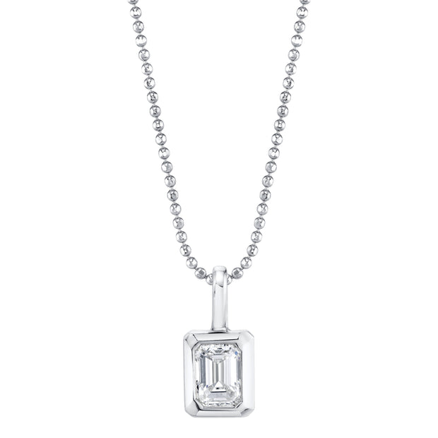 BEZEL EMERALD CUT DIAMOND PENDANT