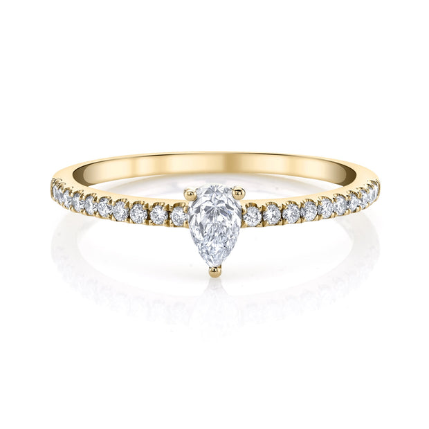 Me/You pear diamond pave ring