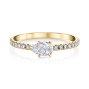 Sideways pear diamond pave ring