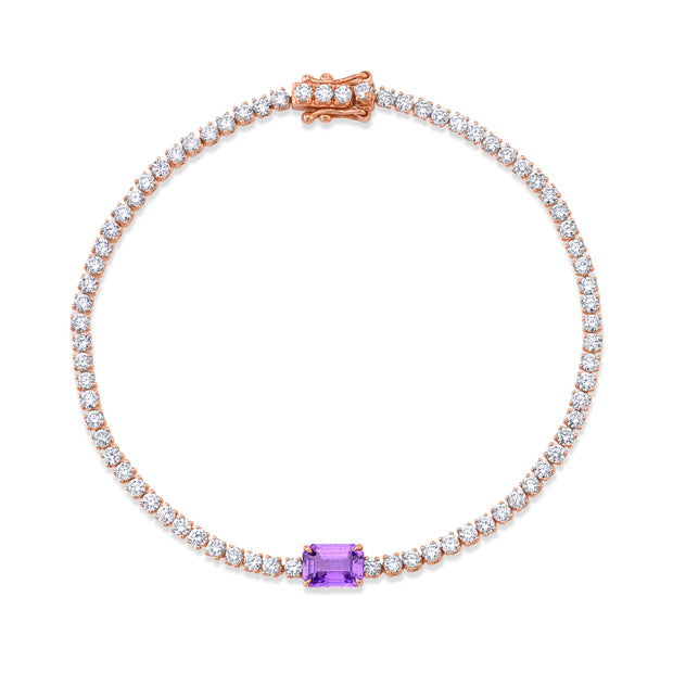 DIAMOND HEPBURN BRACELET WITH PURPLE SAPPHIRE CENTER