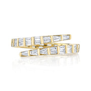 TWO ROW BAGUETTE DIAMOND PINKY COIL RING