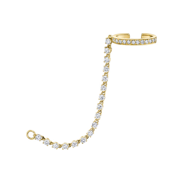 SINGLE ROW DIAMOND EAR CUFF WITH ROPE DIAMOND CHAIN