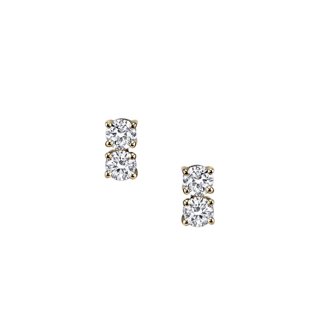 TWO DOT DIAMOND EARRINGS