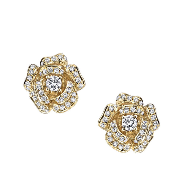 DIAMOND ROSE FLOWER STUDS