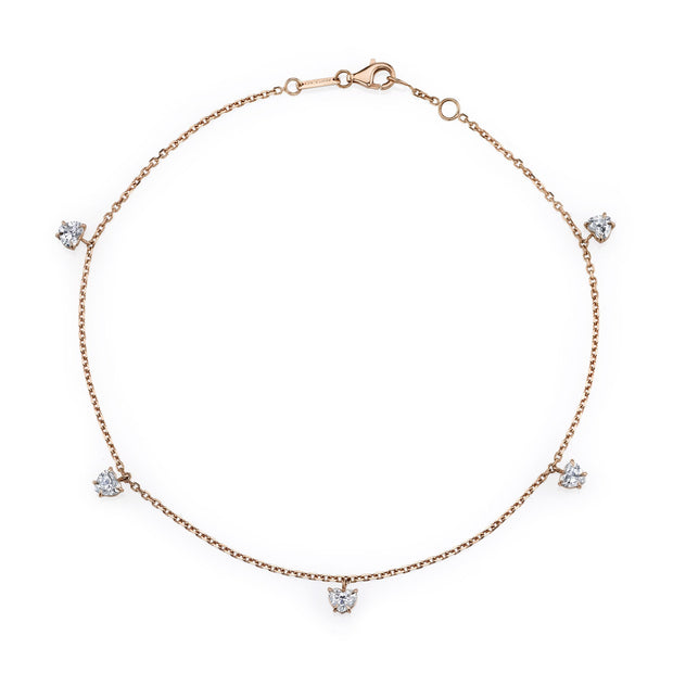 HEART-SHAPED DIAMOND ANKLET