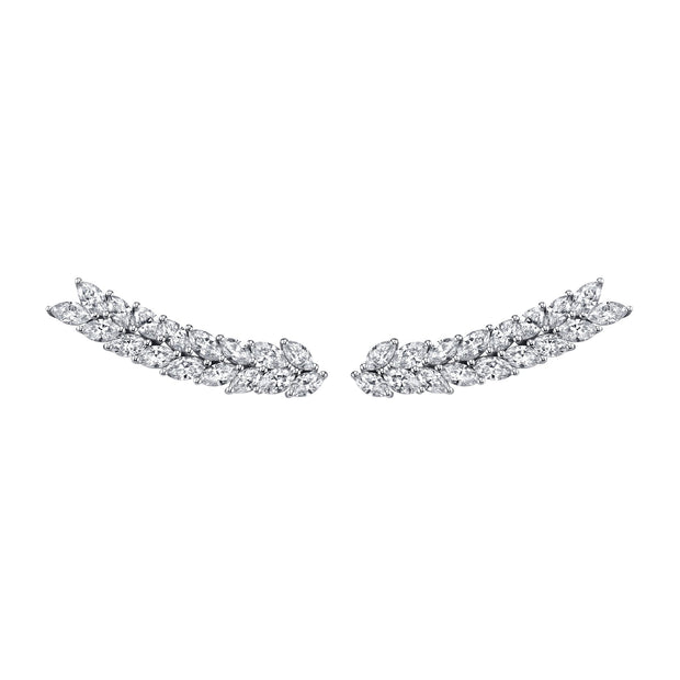 DOUBLE ROW MARQUIS  DIAMOND FLOATING EARRINGS