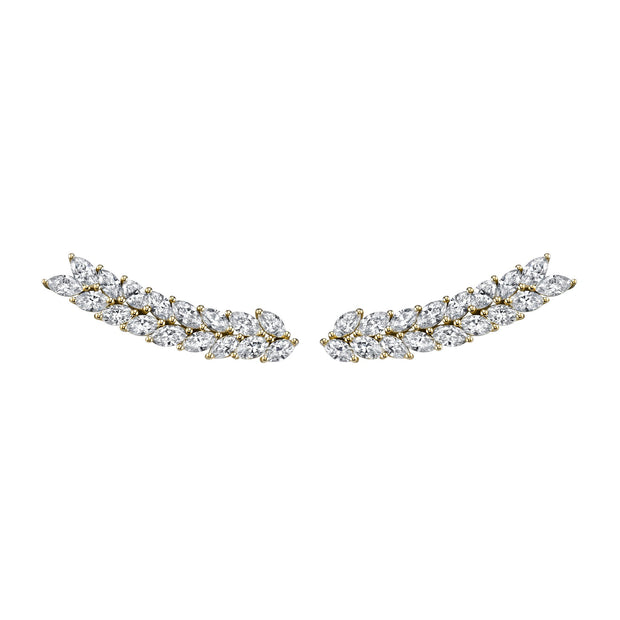 DOUBLE-ROW MARQUIS  FLOATING EARRINGS
