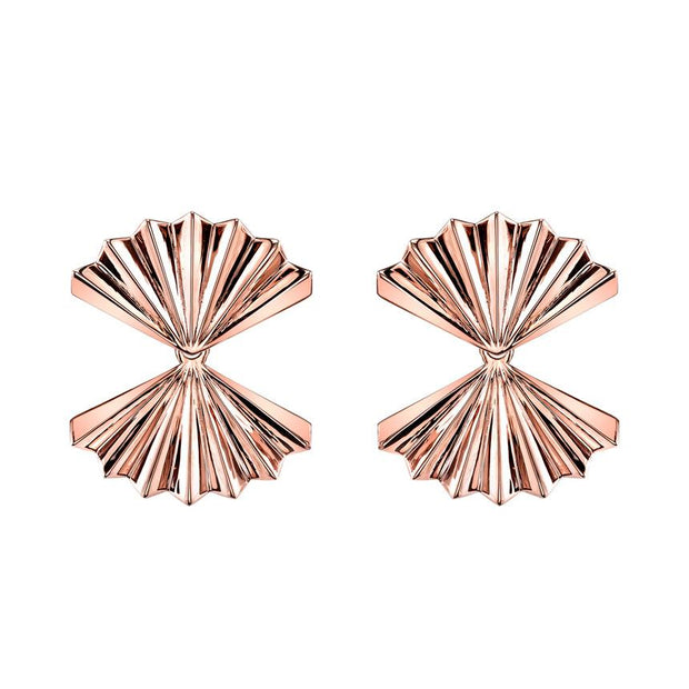 DOUBLE FAN GOLD EARRINGS