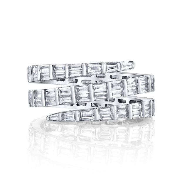 THREE ROW BAGUETTE DIAMOND COIL RING