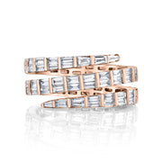 THREE ROW BAGUETTE DIAMOND PINKY COIL RING